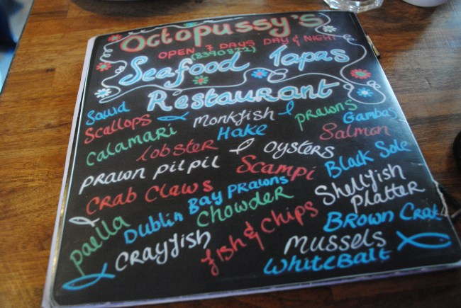 Octopussy's menu